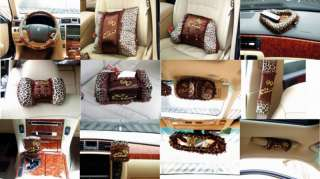 Coffee Leopard Lace Series Bow Car Auto Seat Cover Case Holde