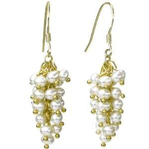 Cultured Pearl Bunch 18k Yellow Gold Overlay Sterling Silver Earrings