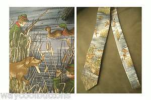 DUCK HUNTER with RIFLE and HUNTING DOG DUCKS SILK FABRIC NECKTIE LANDS