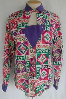 Western Style Southwest Print Cowgirl Long Sleeve Shirt Sz. L