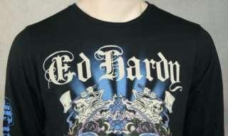 ED Hardy Men Double Skull & Tiger Black L S T Shirt