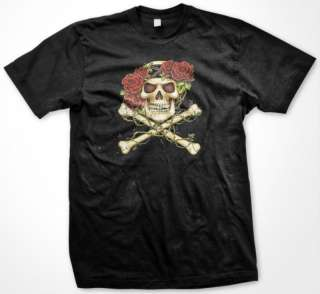 Romantic Skull Rose Crown Bones Gothic Mens T shirt