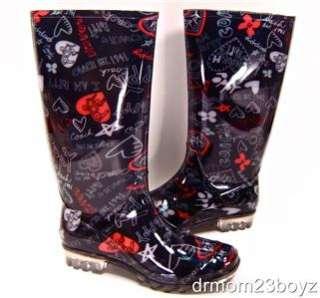 NIB New Coach Poppy Pixy Signature Heart Rainboots Rubber Boots Black