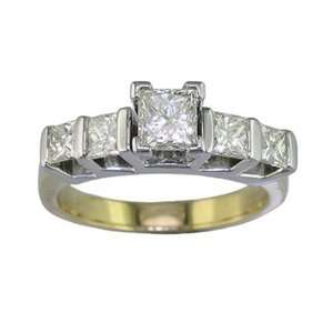 75 CT 5 Stone Princess Cut Diamond Ring in 14K Yellow & White Gold