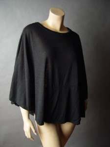 Black Urban Minimalist Casual Loose Fit Draping Layer Trendy Top Shirt