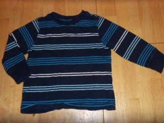 OLD NAVY Blue White STRIPED Tee LONG SLEEVE SHIRT Top Cotton 2T K631
