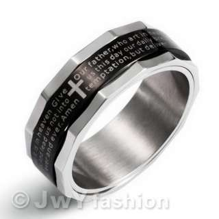 Bible MENS Stainless Steel Ring Cross ve193 Size 8 12
