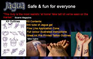 TEMPORARY TATTOOS GIRLY STYLE Black Jagua Henna Pre Printed Designs