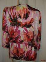 BFS11~JM COLLECTION Pink Brown Black Slash Print Blouse Top Size 10 M