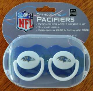 Baltimore Ravens Baby Infant Pacifiers NFL New 2 Pack