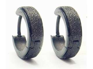 Stainless Steel Black Hoop Huggie Earrings Stud V8 new
