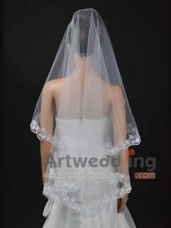 1T White/Ivory Embroidery Wedding Bridal Veil With Pearl 67 (TS110031
