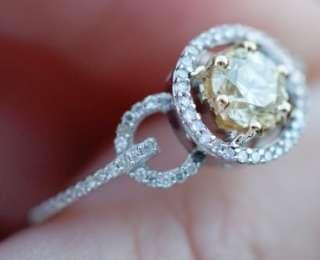 79 ct Round CANARY YELLOW & WHITE Halo Diamond Engagement Ring 14K WG