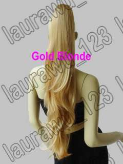 28 Long Gold Blonde Cosplay Wig Wavy Ponytail 70cm Free Shipping