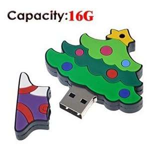 16G Christmas Tree Shaped Rubber USB Flash Drive (Small