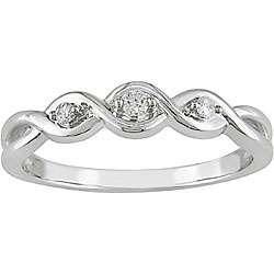 10k White Gold Diamond Three stone Twist Ring