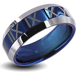 Mens Tungsten Carbide Blue Center Roman Numeral Design Ring (8 mm