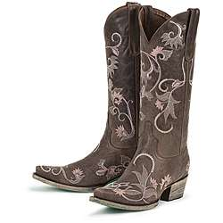 Lane Boots Womens Lacey Grey Leather Cowboy Boots