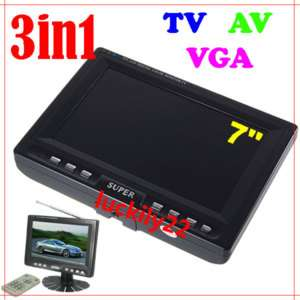 LCD Car TV AV VGA Color LCD Monitor+Remote Control