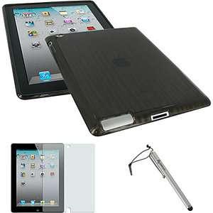 in 1 Kit   Wood Grain Design TPU Skin Case for iPad 2 Computers