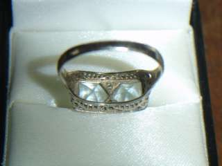 ANTIQUE 14K WHITE GOLD FILIGREE Aquamarine DIAMOND Ring