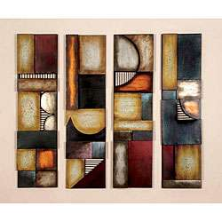 Geometric Multicolor Metal Abstract Wall Art Decor Plaques (Set of 4