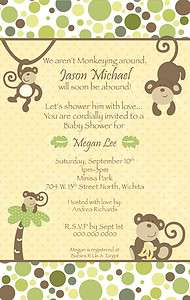 CoCaLo Monkey Time Neutral Baby Shower Invitation   YOU PRINT Boy Girl