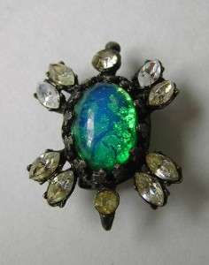 LACE FACETED GREEN OPAL JELLY BELLY RHINESTONE TURTLE BROOCH