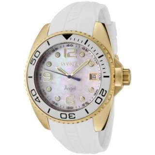 Invicta Womens 0484 Angel Collection 18k Gold Plated White Rubber