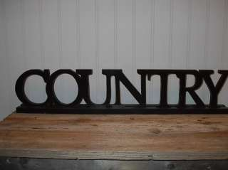 Large PriMiTiVe COUNTRY Word Block SIGN Black Letters