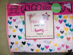 Twin Sheet Set Pink Cookie Peace Signs Skull Heart Teen
