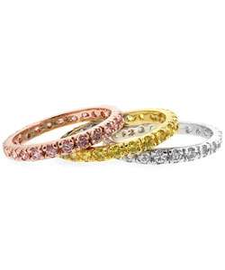 Eternity Band CZ Clear, Pink, Light Green Ring Set