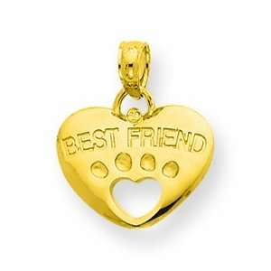 14k Best Friend On Heart With Cut Out Paw Pendant Jewelry