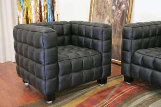 Anny Modern black LEATHER sofa and chair 2 piece SET