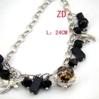 a0175 Lady Black Lampwork Glass Pearl Beads Link Chain Bracelet