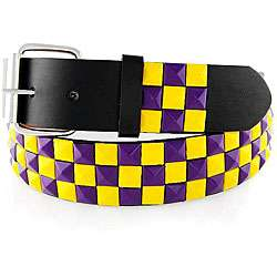 Mens Purple/ Yellow Studded Faux Leather Belt
