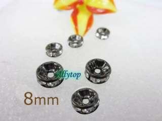 50x Free Ship Spacer Beads Crystal Rhinestone Black 8mm