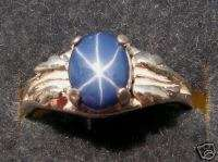 8X6MM BLUE LINDE LINDY STAR SAPPHIRE CREATED S/S RING