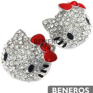 Large Silver Hello Kitty Stud Earrings Red Bow with Swarovski Crystals