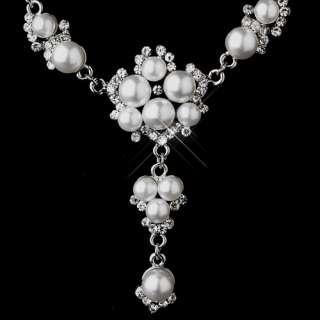 Bridal Wedding Jewelry Set Rhinestone Pearl Chic Y Drop