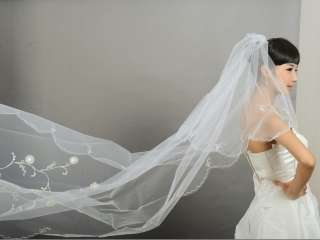 Layer White/Ivory Wedding Bridal Dress Tiara Veil Scarf/Shawl