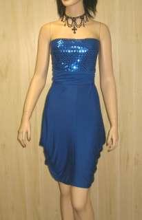 Blue Sequins STRAPLESS MINI DRESS Rockabilly Party Pockets 1X Jr PLUS