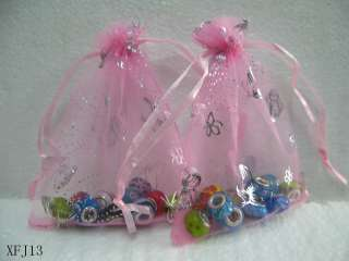 Pink Butterfly Drawstring Organza Wedding Party Favor Gift bags 3.5X5