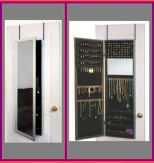 Over the door mirror cabinet jewelry organizer holder