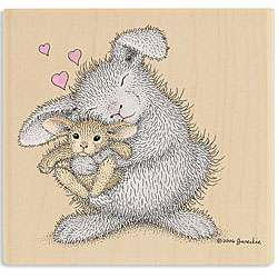 House Mouse Love Bunny Wood mounted Rubber Stamp