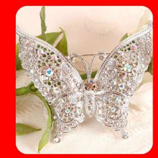 Biggest Butterfly Brooch Pin Clear Swarovski Crystal