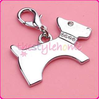 Dog Cat Jewelry Silver Dog w/ Rhinestone Collar Pet Tag