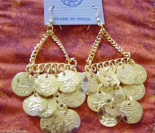 GOLD TONE COIN CHAIN INDIA EARRINGS TRIBAL INDIA GOTHIC