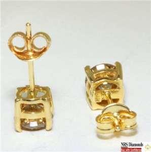 30CT Champagne Diamond 14K Yellow Gold Earring Studs