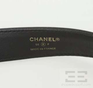 Chanel Black Leather & Gold & Silver Monogram Belt Size 80/32
